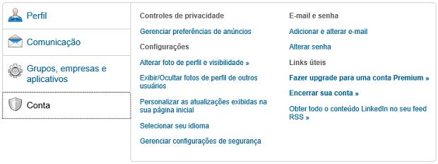Opções de conta são bem diversificadas (Foto: Reprodução Thiago Barros)