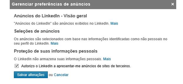 LinkedIn permite escolher se você quer ver anúncios (Foto: Reprodução Thiago Barros) (Foto: LinkedIn permite escolher se você quer ver anúncios (Foto: Reprodução Thiago Barros))