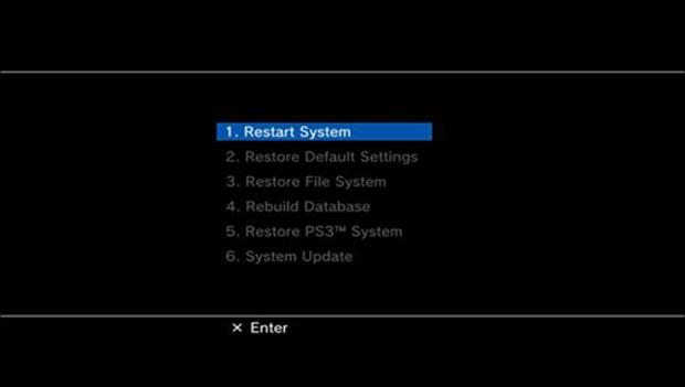 Modo de segurança do PS3, escolha a Opção 6 (Foto: Reprodução)
