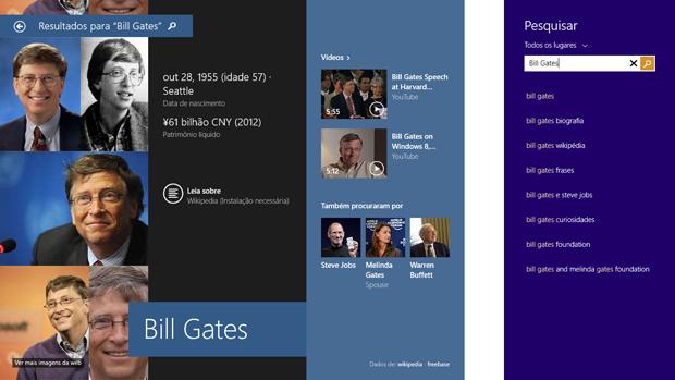 Windows 8.1 traz nova integração com a pesquisa do Bing (Foto: Elson de Souza/TechTudo)
