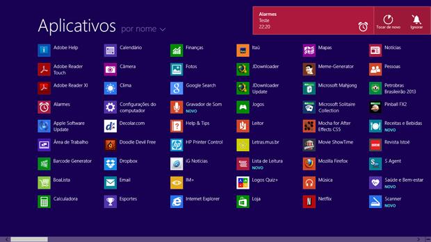 Menu com todos os aplicativos no Windows 8.1 pode ser acessada na parte inferior da tela (Foto: Elson de Souza/TechTudo)