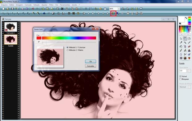 Janela Variar tom aberta com método Colorizar selecionado. Botão que abre a respectiva janela em destaque (Foto: Reprodução/Raquel Freire)