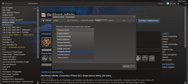 Mudança de idioma da versão PC via Steam (Foto: Reprodução)