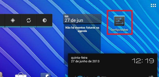 """Abrindo as """"Configurações"""" do Android (Foto: Reprodução/Edivaldo Brito)"""