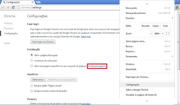 Página de configurações do Google Chrome