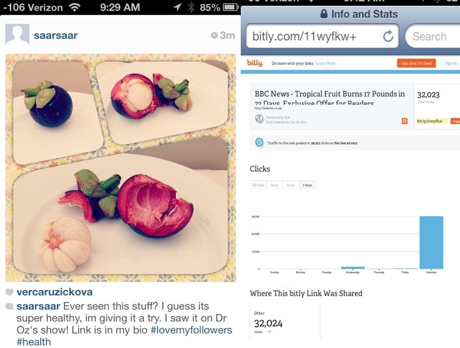 Vírus ataca usuários do Instagram com falso link de dieta milagrosa. (Foto: Reprodução / GigaOM)