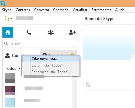 Criando uma nova lista para os seus contatos no Skype (Foto: Reprodução/Carolina Ribeiro)