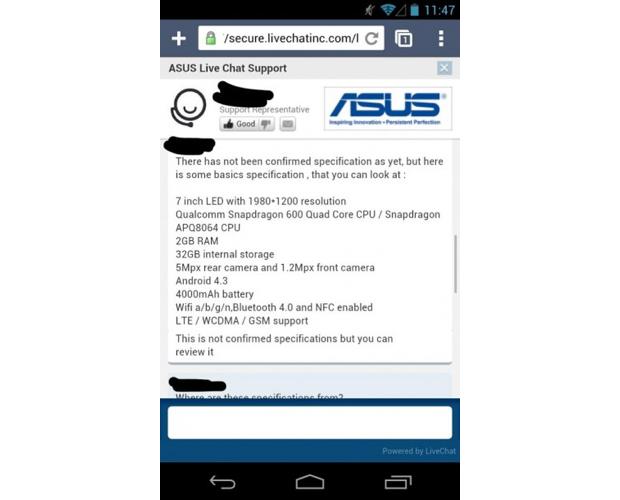 Nexus 7 tem supostas configurações vazadas pelo atendimento da Asus (Foto: Reprodução/Intomobile)