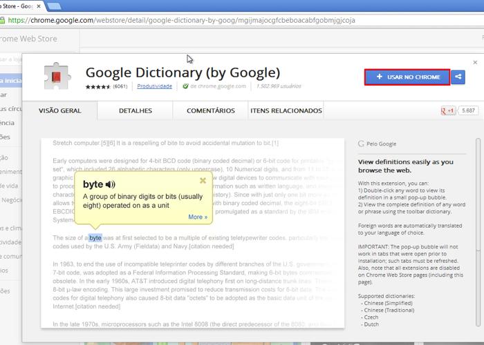 Instale a extensão Google Dictionary no seu Chrome (Foto: Reprodução / Thiago Bittencourt)