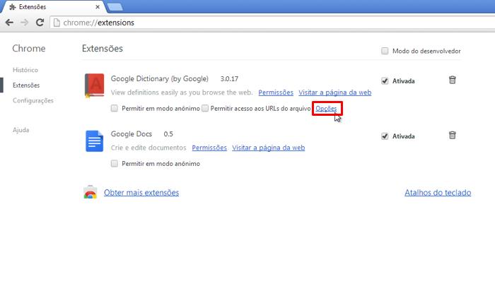 """Acesse as """"Opções"""" do Google Dictionary (Foto: Reprodução / Thiago Bittencourt)"""