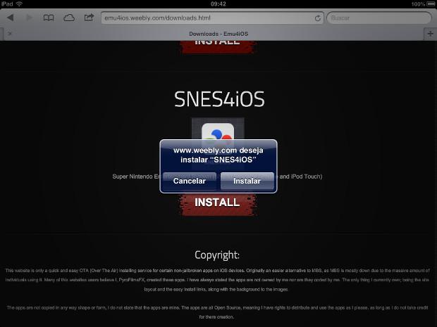 """Escolha o emulador desejado e toque em """"install"""" para instalar (Foto: Reprodução / Dario Coutinho)"""