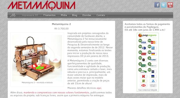 Site da Metamáquina 2 (Foto: Reprodução)