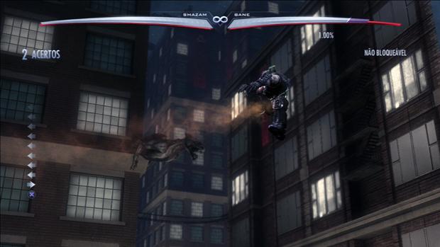 Bane voa em uma das trocas de cenário disponíveis no jogo. (Foto: Reprodução)