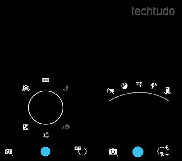 Interface da câmera no Android 4.2.2 e Android 4.3, respectivamente (Foto: Reprodução/TechTudo)