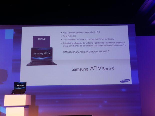 Algumas das características técnicas do Ativ 9, apresentadas na conferência da Samsung (Foto: Pedro Zambarda/TechTudo)