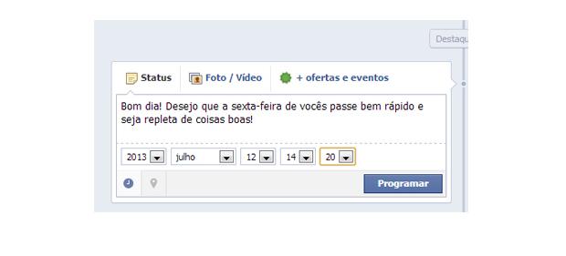 Agendamento de um post na Fan Page do Facebook (Foto: Aline Jesus/Reprodução)