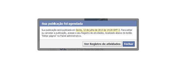 Aviso que o posta agendado está no Registro de Atividades do Facebook (Foto: Aline Jesus/Reprodução)