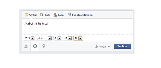 Inserindo um status no Facebook que você esqueceu (Foto: Aline Jesus/Reprodução)