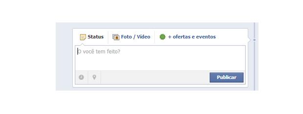 Box de atualização do status do Facebook (Foto: Aline Jesus/Reprodução)