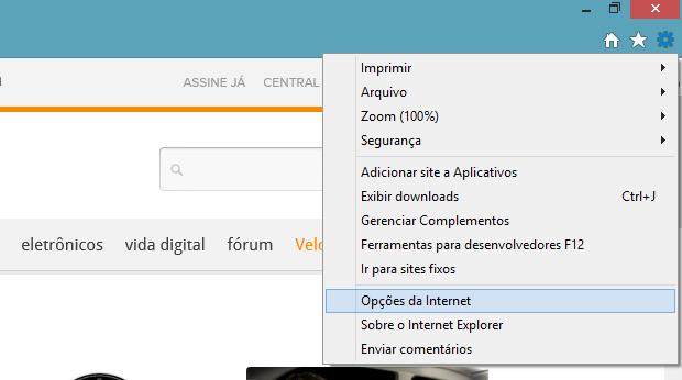 Menu de ferramentas do Internet Explorer (Foto: Reprodução/Helito Bijora)