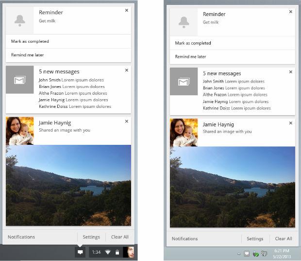 Nova Central de Notificações do Google Chrome 28 (Foto: Reprodução/ The Next Web)