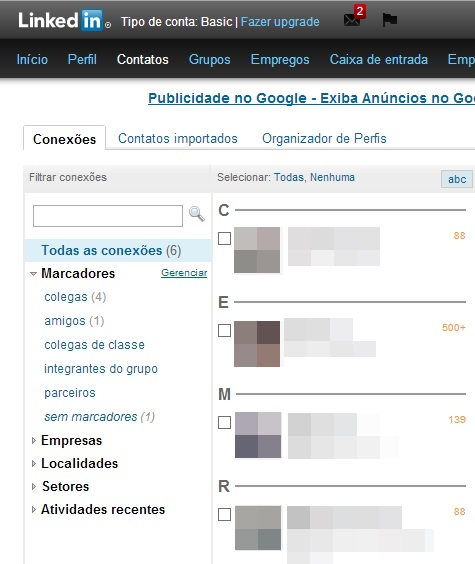Opção de gerenciar os marcadores do LinkedIn (Foto: Reprodução/Carolina Ribeiro)