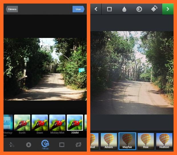 Filtros e outros efeitos para imagens estão disponíveis no Mobli e no Instagram (Foto: Reprodução/Lívia Dâmaso)