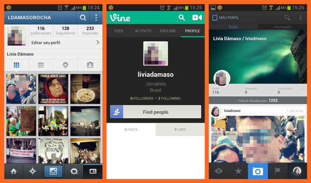 Interfaces do Instagram, Vine e Mobli, respectivamente (Foto: Reprodução/Lívia Dâmaso)