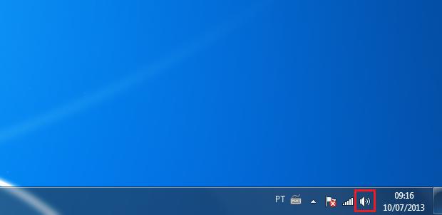 Clicando no ícone de som do Windows (Foto: reprodução/Edivaldo Brito)