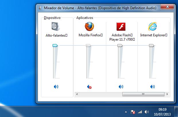 Procurando pela configuração de som do navegador no mixer (Foto: reprodução/Edivaldo Brito)
