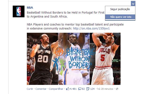 É possível impedir 'páginas' de postarem no seu feed de notícias (Foto: Reprodução/Thiago Barros)