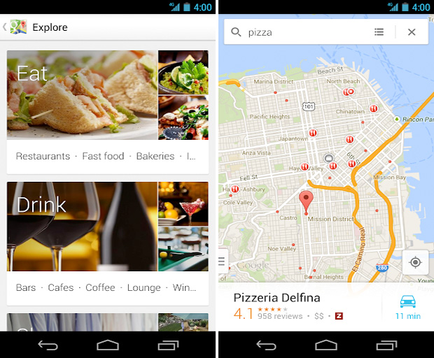 Nova interface do Google Maps para Android (Foto: Divulgação)