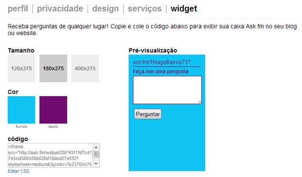 É possível customizar cor e tamanho do widget (Foto: Reprodução/Thiago Barros)