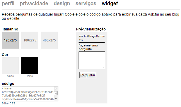 Copie o código e depois cole no seu site (Foto: Reprodução/Thiago Barros) (Foto: Copie o código e depois cole no seu site (Foto: Reprodução/Thiago Barros))