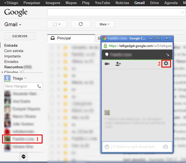Escolha um contato e acesse as configurações do Hangout (Foto: Reprodução/Thiago Bittencourt) (Foto: Escolha um contato e acesse as configurações do Hangout (Foto: Reprodução/Thiago Bittencourt))