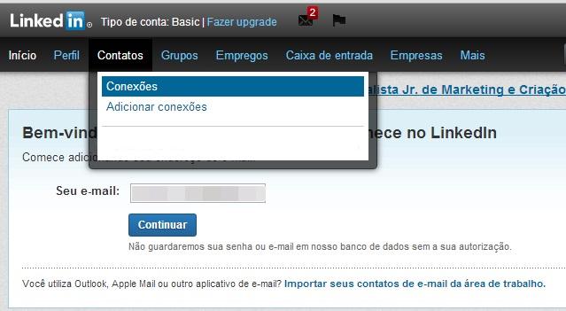 Acessando a lista com as suas conexões do LinkedIn (Foto: Reprodução/Carolina Ribeiro)