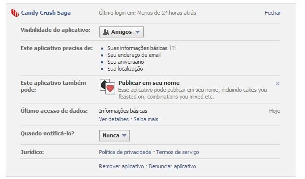 Remova o Candy Crush para desconectá-lo do Facebook (Foto: Reprodução/Thiago Barros)