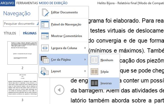 Invertendo cores do documento (Foto: Reprodução/Helito Bijora)