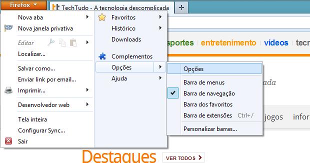 Abrindo opções do navegador (Foto: Reprodução/Helito Bijora)