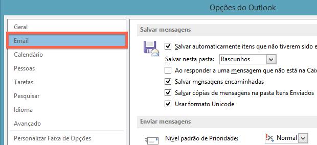 Configurações de e-mail (Foto: Reprodução/Helito Bijora)