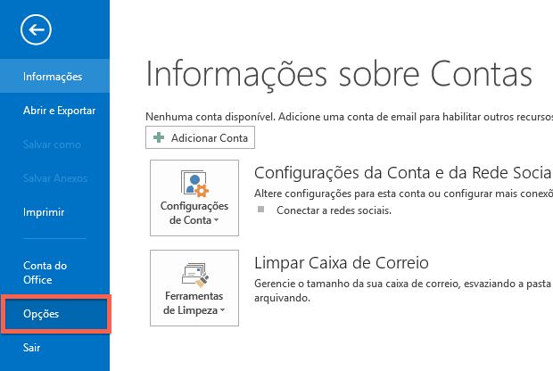 Acessando configurações do Outlook (Foto: Reprodução/Helito Bijora)