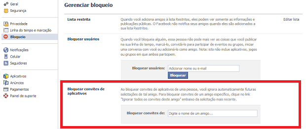 É possível bloquear convites de determinados usuários (Foto: Reprodução Thiago Barros)
