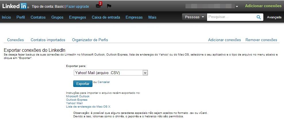 Fazendo backup da lista de contatos do LinkedIn para outras contas (Foto: Reprodução/Carolina Ribeiro)