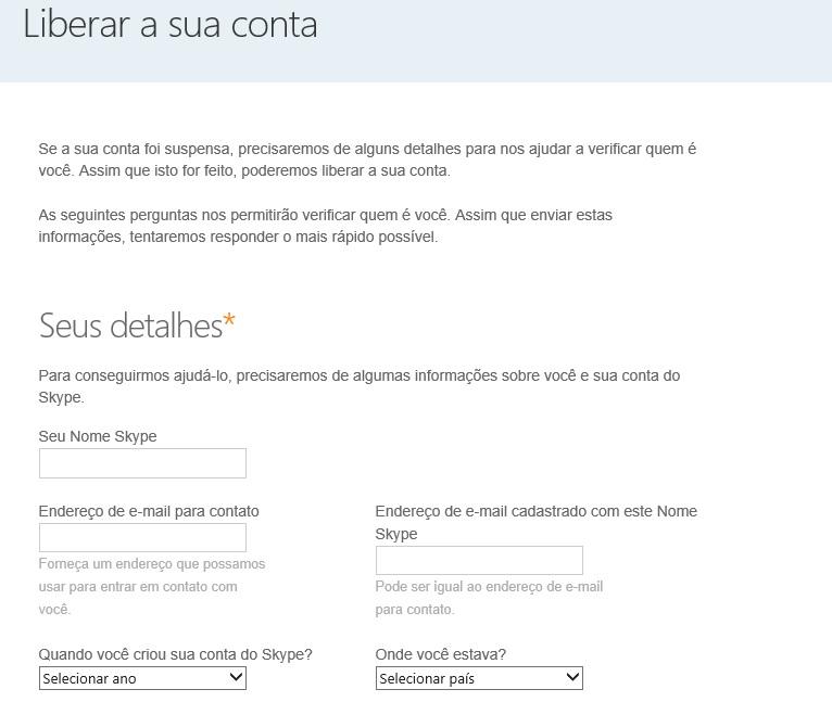 Informe algumas informações pessoais para recuperar a sua conta do Skype (Foto: Reprodução/Carolina Ribeiro) (Foto: Informe algumas informações pessoais para recuperar a sua conta do Skype (Foto: Reprodução/Carolina Ribeiro))