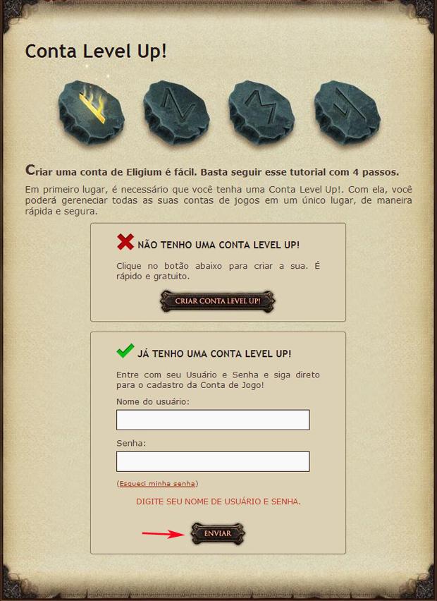Faça login com sua conta da Level Up para criar uma conta em Eligium (Foto: TechTudo)