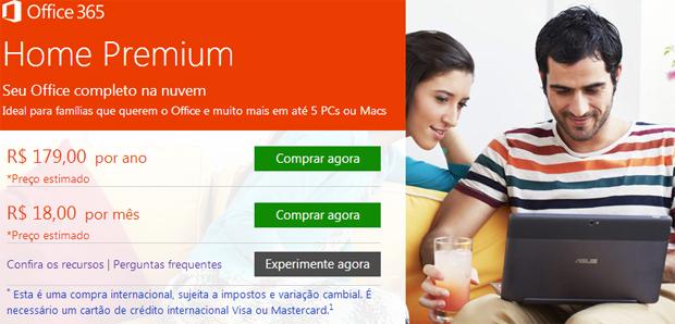 Office 365 agora está disponível em reais (Foto: Reprodução/Microsoft)