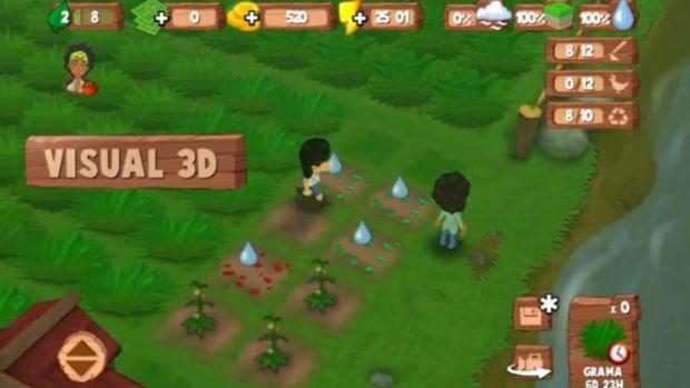 Um dos mini-games do SOS Mata Atlântica é parecido com o game FarmVille, da Zynga (Foto: Divulgação)