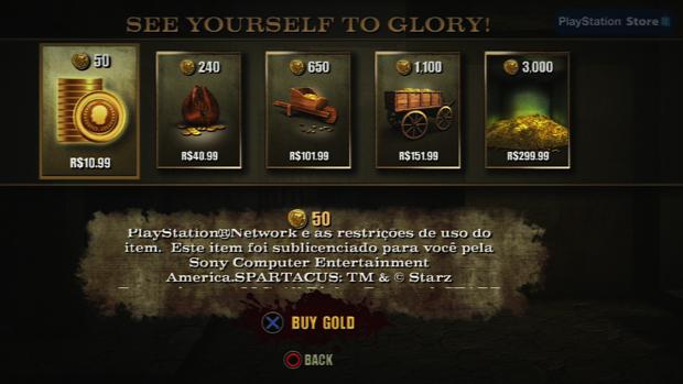 Preço das moedas de ouro varia entre R$10,99 e R$299,99. (Foto: Reprodução)