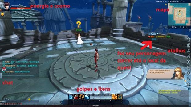 Interface do jogo Saint Seiya Online (Foto: Reprodução / Dario Coutinho)