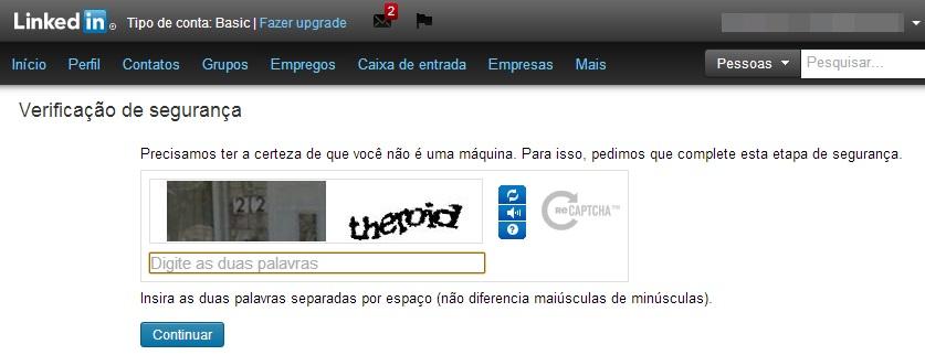 Verificação de segurança do LinkedIn para concluir o procedimento (Foto: Reprodução/Carolina Ribeiro)